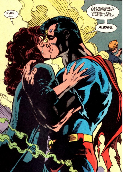 Superman/Clark Kent and Lois Lane kissing, before Superman dies in Lois' arms, Superman #75 (1993)