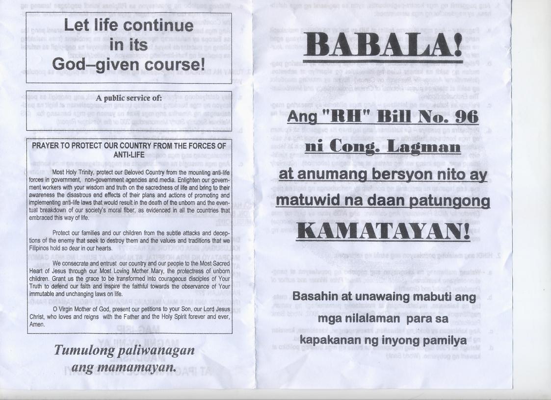 Anti-RH Lies About The RH Bill   Filipino Freethinkers