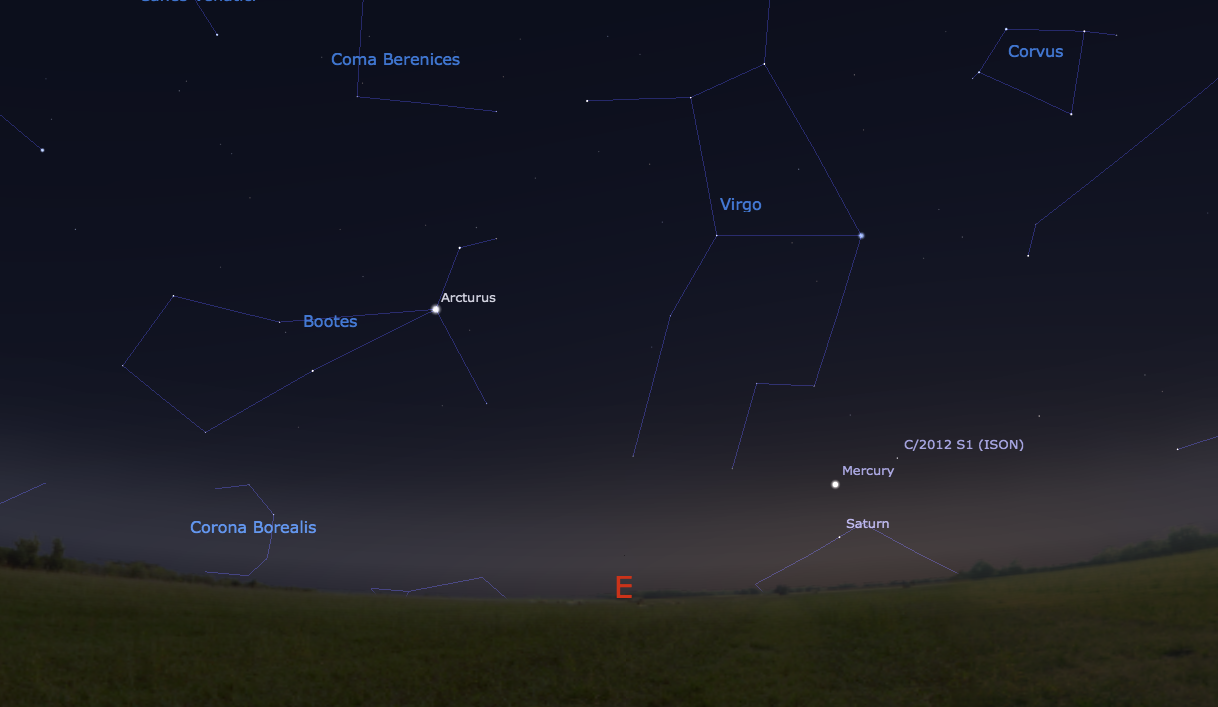 Where to find Comet ISON this Saturday morning. (Screenshot courtesy of Stellarium.)
