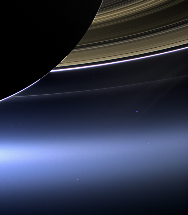 "The photograph known as the ""Wave to Saturn"" or ""Pale Blue Dot 2.1"". It was taken by the Cassini space probe in 2013. ""Pale Blue Dot 2.0"" was also taken by Cassini in 2006. [Photo credit: NASA]"