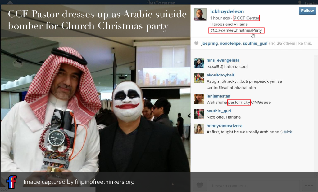 CCF Executive Pastor Ricky as Arabic suicide bomber